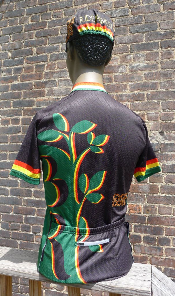 The Bicycle Roots Rasta Kit jersey and hat, from the back.