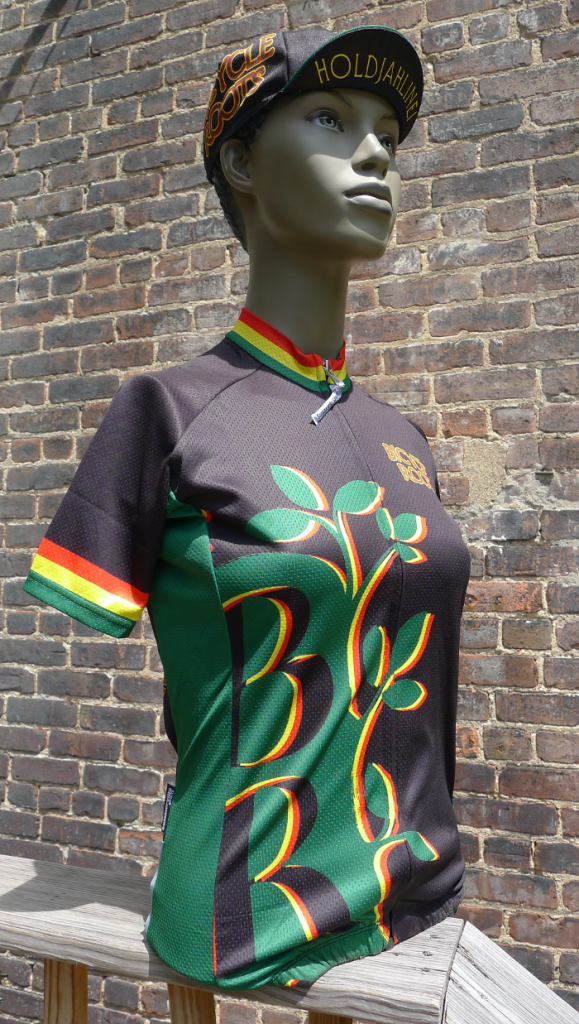 The Bicycle Roots Rasta Kit jersey and hat, from the front.