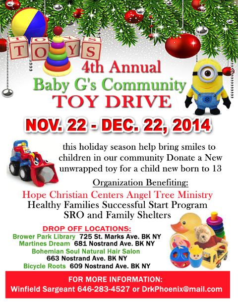 Flyer for Baby G's Community Toy Drive