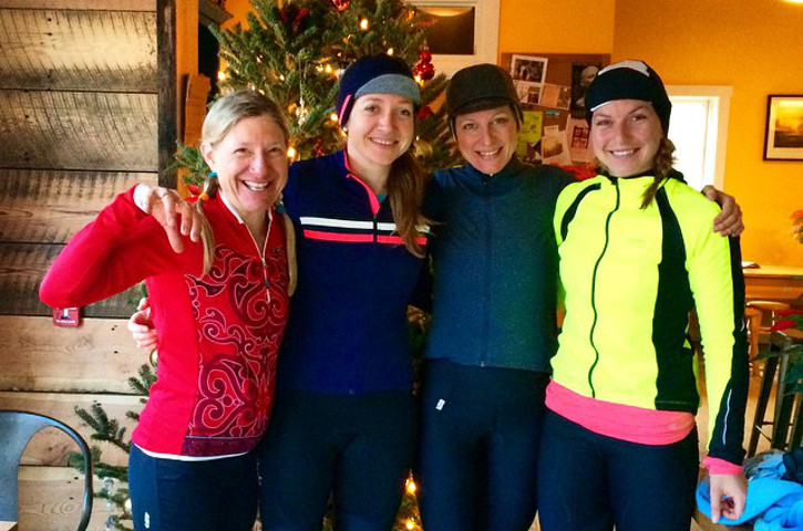 Members of Bicycle Roots p/b Hatchmap at the end of a fun winter training ride.