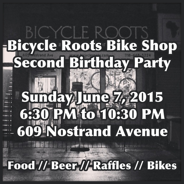 Bicycle Roots Second Birthday Party Flyer