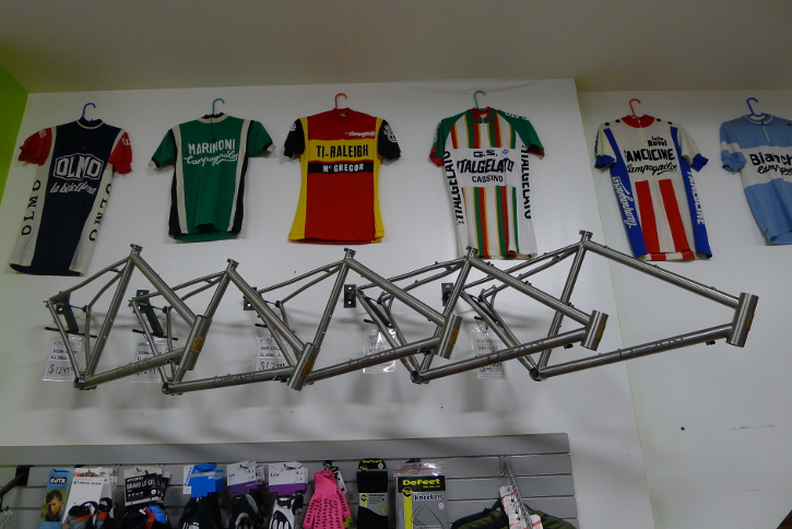 Dean bicycle frames on display at Bicycle Roots