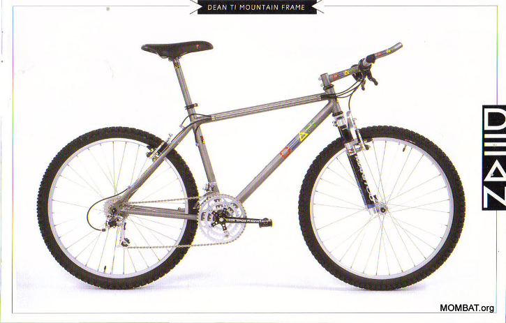 A vintage titanium mountain bike from Dean's 1994 catalog. Image courtesy of MOMBAT.