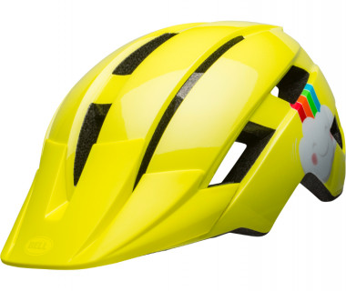Bell Sidetrack Toddler Helmet (2020) Double Rainbow Gloss Yellow Front Left