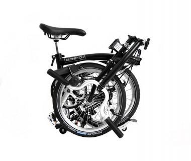 Brompton H6L Folding Bike w/ Marathon Racer Tires, Extd Seatpost, FCB (2020) Black Folded