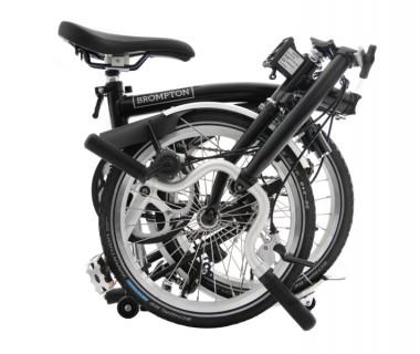 Brompton M3L Folding Bike w Marathon Racer Tires, Extd Seatpost, FCB (2020) Black Folded