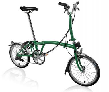 Brompton M6L Folding Bike (2020) w/ Brompton Wide Saddle, Marathon Racer Tires, Extd Seatpost, FCB Racing Green
