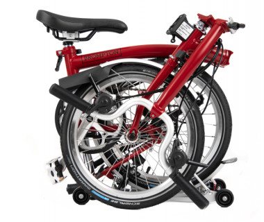 Brompton M6R Folding Bike (2021) w/ Extd Seatpost House Red Folded