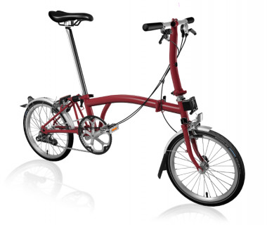 Brompton S2L Folding Bike w/ Marathon Racer Tires, FCB (2020) House Red