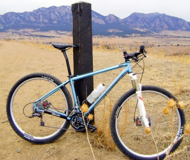 Gunnar Cycles Rock Hound Frame Against the Flatirons by Boulder, Colorado