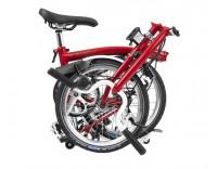 Brompton H3L Folding Bike w/ Brompton Wide Saddle, Marathon Racer Tires, Extd Seatpost, FCB (2020) House Red Folded
