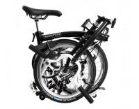 Brompton H3L Folding Bike w/ Marathon Racer Tires, Extd Seatpost, FCB (2020) Black Folded