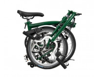 Brompton H6L Folding Bike (2020) w/ Brompton Wide Saddle, Marathon Racer Tires, Extd Seatpost, FCB Racing Green Folded