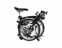 Brompton H6L Folding Bike w/ Marathon Racer Tires, Extd Seatpost, FCB (2020) Black Folded