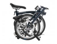 Brompton M3L Folding Bike w/ Brompton Wide Saddle, Marathon Racer Tires, Extd Seatpost, FCB (2020) Tempest Blue Folded