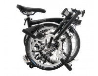 Brompton M3L Folding Bike w Marathon Racer Tires, Extd Seatpost, FCB (2020) Black Folded
