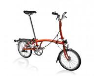 Brompton M3R Folding Bike w/ Extended Seatpost, Brompton Wide Saddle, Marathon Racer Tires, FCB (2019)-Flame Lacquer