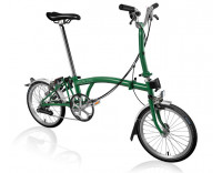 Brompton M6L Folding Bike (2020) w/ Brompton Wide Saddle, Marathon Racer Tires, Extd Seatpost, FCB Racing Green