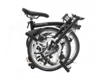 Brompton M6L Folding Bike (2020) w/ Marathon Racer Tires, Extd Seatpost, FCB Black Folded