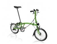 Brompton S3L Folding Bike w/ -12% Gearing, Extd. Seat Pillar, FCB (2015)-Apple Green